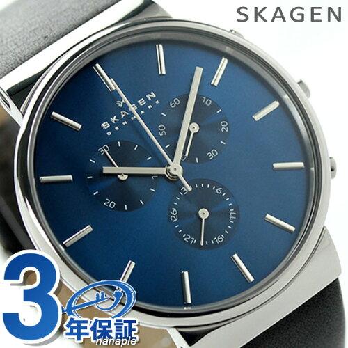 スカーゲン クロノグラフ アンカー メンズ クオーツ SKW6105 SKAGEN 腕時計 ブルー×ブラック レザ...