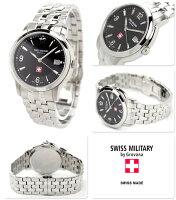 正規品SWISSMILITARYbyGrovanaスイスミリタリーバイグロバナ腕時計メンズデイトブラック1581.1237