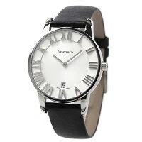 ティファニーアトラスドームメンズ腕時計Z1800.11.10A21A52ATIFFANY&Co.クオーツシルバー×ブラックカーフレザー新品