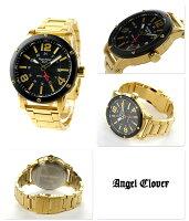エンジェルクローバーエクスベンチャーGMTメンズ腕時計EVG46YBKAngelCloverクオーツブラック×ゴールド