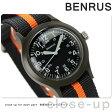 ベンラス スイス製 メンズ 腕時計 クオーツ BR763 OLIVE 04 BENRUS ブラック×オレンジ