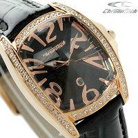 クロノテックレディース腕時計クオーツCT7988LS78Chronotechプリズマリローデットブラックレザーベルト