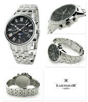 アーンショウスイス製ムーンフェイズクオーツES-0017-11Earnshawメンズ腕時計ブラック