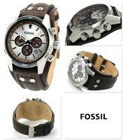 フォッシルコーチマンクロノグラフメンズ腕時計CH2565FOSSILクオーツシルバー×ダークブラウンレザーベルト