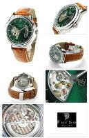 フルボデザイン自動巻きオープンハートメンズ腕時計F5025NGRBRFurboDesignグリーン×ブラウン