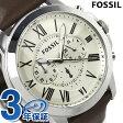 フォッシル グラント クロノグラフ メンズ 腕時計 FS4735 FOSSIL クオーツ アイボリー×ブラウン レザーベルト