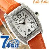 フォリフォリ 腕時計 レディース ジルコニア シルバー×オレンジ レザーベルト Folli Follie S922ZI-SLV-ORG