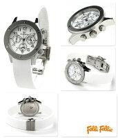 フォリフォリ腕時計レディースクロノグラフホワイトラバーベルトFolliFollieWT6T042SEW