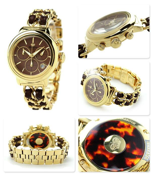 グラムロック バルハーバー 40mm クロノグラフ 腕時計 GR77128 Glam Rock クオーツ ブラウン×イエローゴールド 時計【あす楽対応】