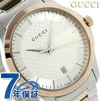グッチG-タイムレスクオーツメンズ腕時計YA126447GUCCIシルバー×ピンクゴールド