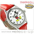 ディズニー ミッキー クラシック タイム コレクション DIN001SLRD インガソール 腕時計 ホワイト×レッド