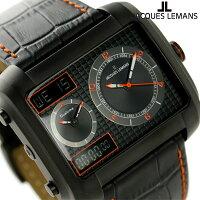 ジャックルマンマドリードGMTメンズ腕時計1-1708EJACQUESLEMANSオールブラック×オレンジ