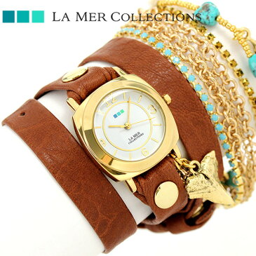 ラメール コレクション レザー レディース 腕時計 LMMULTI2005 LA MER スペシャリティ クリスタル ラップ 時計