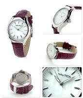 ノーティカNCT18クロコレザーレディース腕時計NAI11004MNAUTICAホワイトシェル×パープル