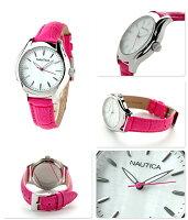 ノーティカNCT18ミッドサイズレディース腕時計NAI11010MNAUTICAホワイトシェル×ライトブルー