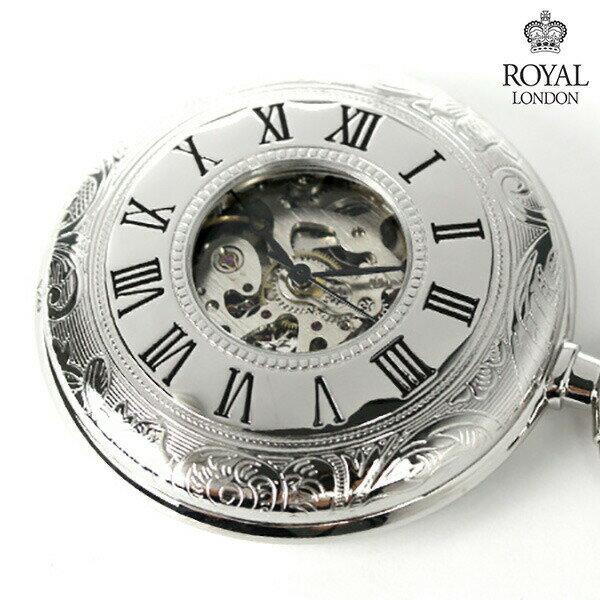 【当店なら!さらにポイント+4倍】 ロイヤルロンドン 懐中時計 手巻き 90009-02 ROYAL LONDON ポケットウォッチ スケルトン 時計