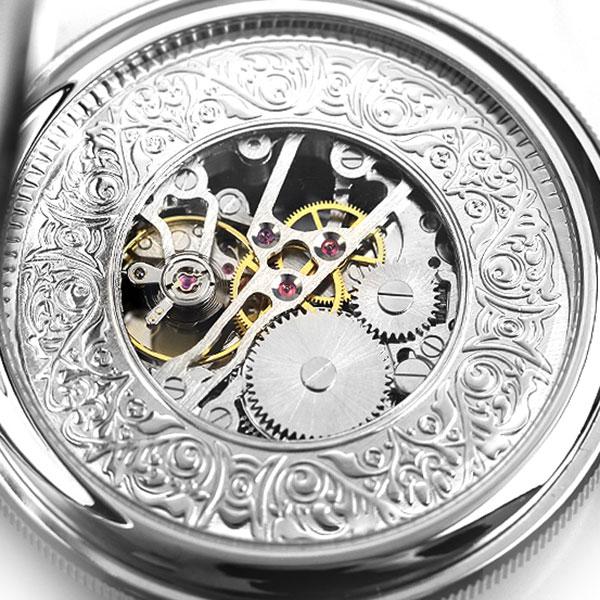 【当店なら!さらにポイント+4倍】 ラポート 懐中時計 スケルトン ダブルハンターケース イギリス製 手巻き PW47 Rapport シルバー 時計