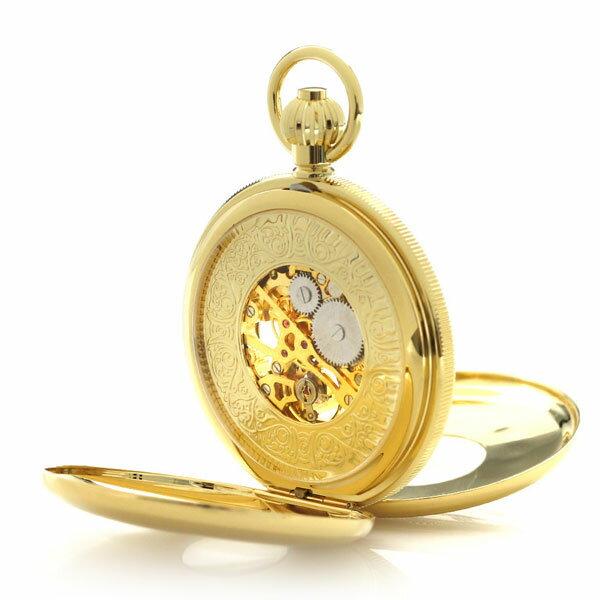 【当店なら!さらにポイント+4倍】 ラポート 懐中時計 スケルトン ダブルハンターケース イギリス製 手巻き PW48 Rapport ゴールド 時計