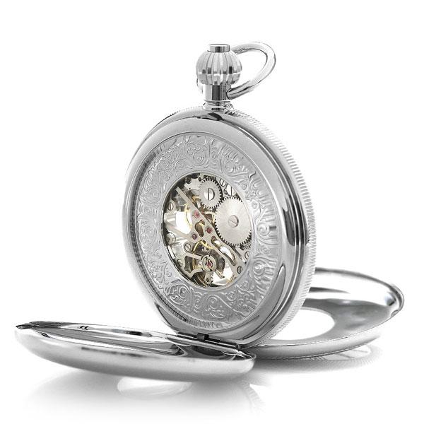 【当店なら!さらにポイント+4倍】 ラポート 懐中時計 スケルトン ダブルハンターケース イギリス製 手巻き PW49 Rapport シルバー 時計