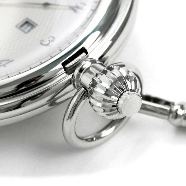 【当店なら!さらにポイント+4倍】 ラポート 懐中時計 カレンダー ハンターケース イギリス製 クオーツ PW71 Rapport シルバー 時計