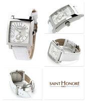 サントノーレオルセーカレミディアムスイス製SN7620171YBBSAINTHONOREレディース腕時計クオーツホワイトシェルレザーベルト