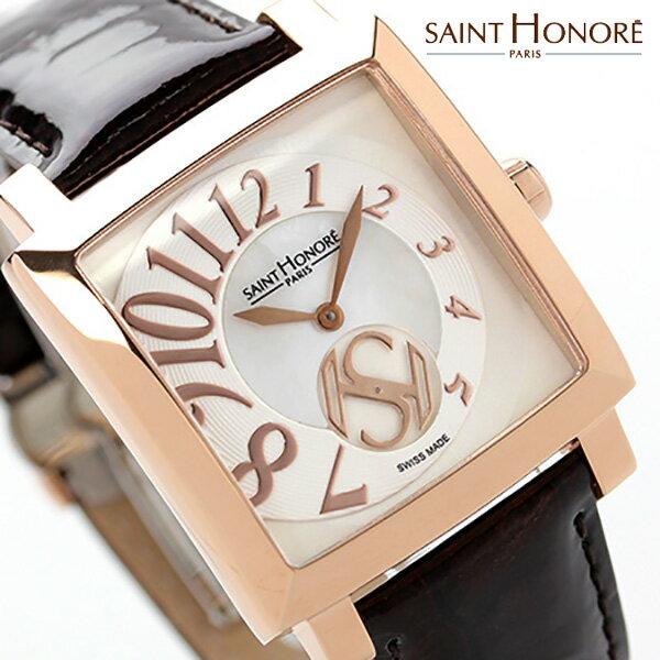 a1833a4904 ... サントノーレ オルセー カレ ミディアム スイス製 SN7620178YBBR SAINT HONORE レディース 腕時計 クオーツ  ホワイトシェル×ブラウン
