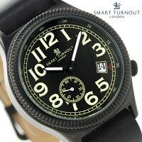スマートターンアウトクランウェルスモールセコンドSTJ-007BKBKRAF20SMARTTURNOUTメンズ腕時計クオーツオールブラックレザーベルト