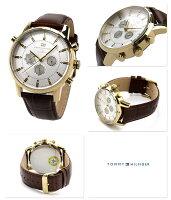 トミーヒルフィガー腕時計メンズマルチファンクションシルバー×ブラウンレザーベルトTOMMYHILFIGER1790874