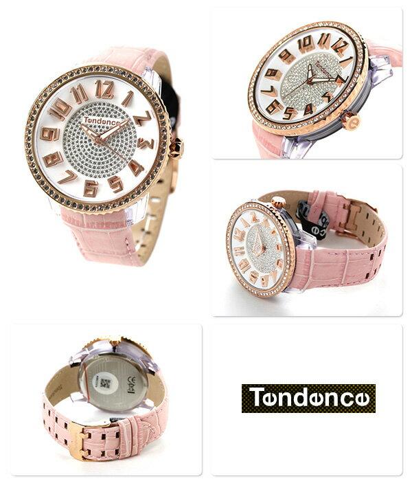店内ポイント最大43倍!26日1時59分まで! テンデンス グラム 47 クリスタル クオーツ 腕時計 TY430141 TENDENCE ホワイト×ピンク 時計