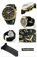 テンデンスガリバー47クロノグラフクオーツ腕時計TY460011TENDENCEブラック×ゴールド