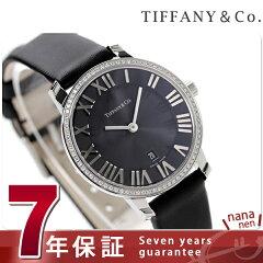 ティファニー アトラス ドーム ダイヤモンド レディース Z1831.11.10B10A40A TIFFANY&Co. 腕時計 クオーツ ブラック サテンレザー 新品
