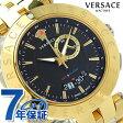 ヴェルサーチ Vレース GMT アラーム スイス製 メンズ 29G79D009S079 VERSACE 腕時計 ブラック×ゴールド 新品