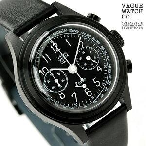 ヴァーグウォッチ ツーアイズ 38mm クロノグラフ 2C-L-003 VAGUE WATCH Co. 腕時計 クオーツ ブラック レザーベルト