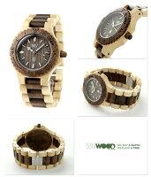 ウィーウッドデイトクオーツ木製腕時計9818070WEWOODナット×ベージュ