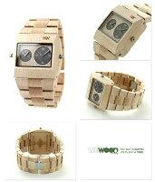 ウィーウッドジュピターRSデュアルタイム木製腕時計9818071WEWOODベージュ