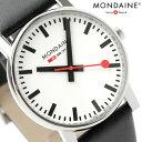 モンディーン 腕時計 エヴォ 35mm ホワイト×ブラック レザーベル...