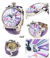 ガガミラノ手巻き48MM5010.09Sスイス製マヌアーレレザーベルト腕時計GaGaMILANOMANUALESTEELホワイト×パープル