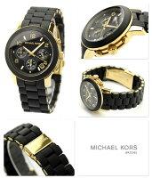 MICHAELKORSマイケルコースレディース腕時計クロノグラフブラック×ゴールドラバーベルトMK5191
