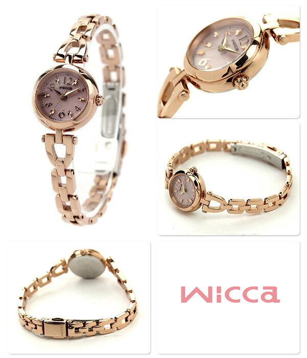 シチズン ウィッカ ソーラー レディース 腕時計 ピンク×ピンクゴールド CITIZEN wicca KF2-561-91 時計