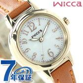 【キャンドル付き♪】シチズン ウィッカ ソーラー レディース 腕時計 KH9-922-12 CITIZEN wicca シルバー×ブラウン レザーベルト