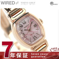 セイコー腕時計レディースワイアードエフトーキョーガーリーソーラーピンク×ピンクゴールドSEIKOWIREDfAGED059