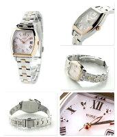 セイコーワイアードエフソーラーレディース腕時計AGED076SEIKOWIREDfシルバー×ピンクゴールド