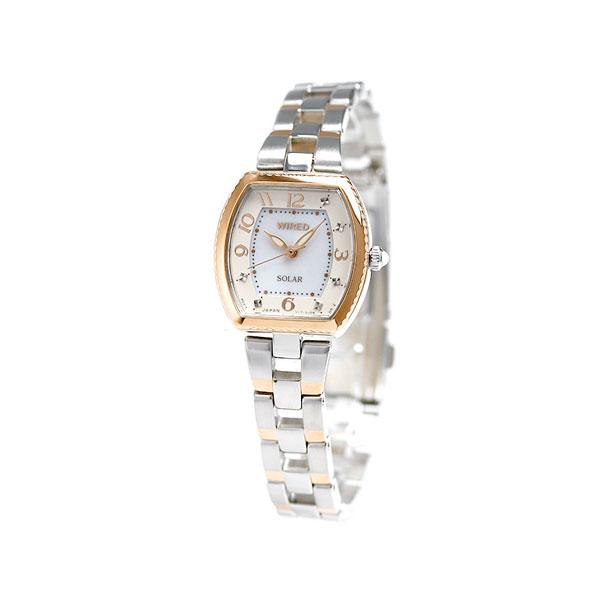 セイコー ワイアード エフ SEIKO WIRED f ソーラー レディース 腕時計 AGED090 ホワイト×ピンクゴールド