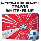 【即納】キャロウェイCHROMESOFT(クロムソフト)TRUVIS(トゥルービズ)≪WHITE/BLUE≫ボール(12球)【数量限定品】