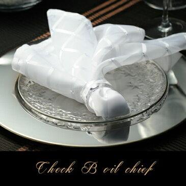 チェックボイルチーフ(テーブルナプキン 55cm×55cm ポリエステル製 おしゃれ 結婚式 パーティー スケルトン チェック柄 ホワイト ピンク イエロー )NANNA