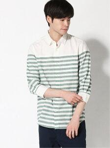 [Rakuten Fashion]【SALE/10%OFF】:パネルボーダーシャツ7S nano・universe Selected ナノユニバース シャツ/ブラウス 七分袖シャツ グリーン ブラック ブルー【RBA_E】【送料無料】
