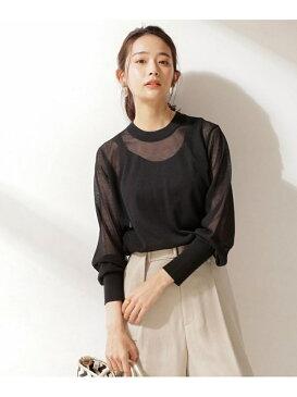 [Rakuten Fashion]【SALE/65%OFF】シアーニットプルオーバー nano・universe ナノユニバース カットソー Tシャツ ブラック ベージュ グリーン【RBA_E】