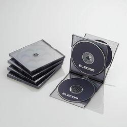 エレコム CD/DVDプラケース/4枚収納/5パック/クリアブラック CCD-JSCNQ5CBK メーカー在庫品