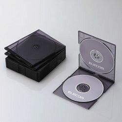 エレコム CD/DVDスリムプラケース/2枚収納/10パック/クリアブラック(CCD-JSCSW10CBK) メーカー在庫品