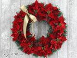 クリスマスリース 玄関 おしゃれ 造花 ポインセチア x'masリース W-169